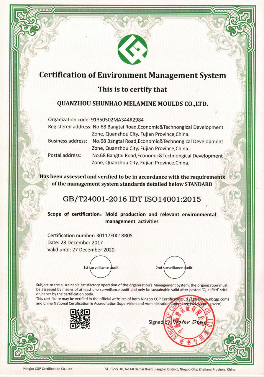 Shunhao Machines&Moulds Certificate